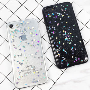 Glitter Phone Cases For iPhone 7 6 6s Plus Case Luxury Shining Love Heart Powder Phone Back Cover Cases Clear Coque Carcasas New