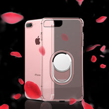 Shockproof Armor Case For iphone 8 7 6 6s Plus Case Slim Clear Soft TPU Back Cover + Magnetic Ring Car Holder Stand Phone Cases