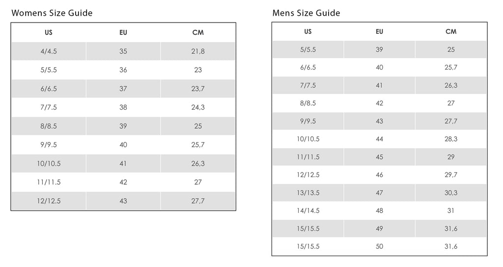 Ecco Mens and Womens Size Chart
