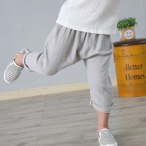 Kids Pleated Linen Harem Pants