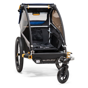 Seat down in Burley D'lite Single Trailer provides large cargo storage area