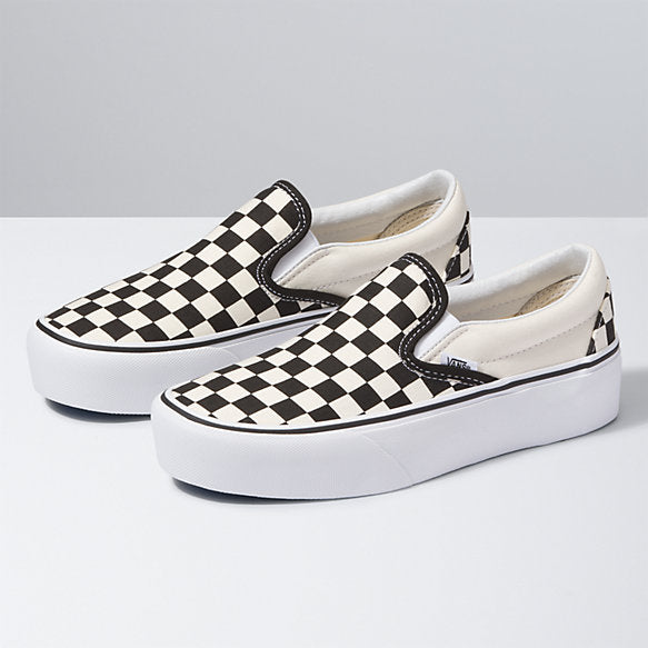 FU CLASSIC SLIP-ON PLATFORM BLACK & WHITE CHECKERBOARD/WHITE