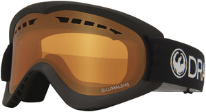 Dragon DX Black Lumalens Amber Goggle Profile View