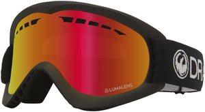 Dragon DX Black Lumalens Red Ion Goggle Profile View