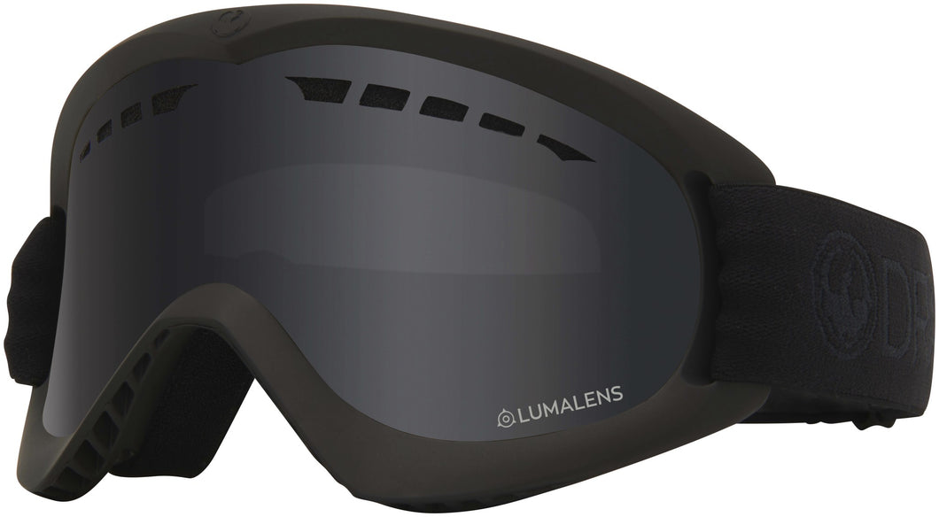Dragon DX Blackout Lumalens Dark Smoke Grey Lens Goggle Profile View