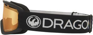 Dragon LILd Black Lumalens Amber Youth Child Goggle Black/White Band Side View