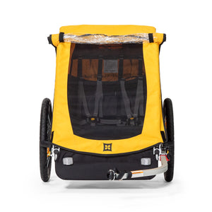 Front View of Burley Bee Child Bike Trailer Mesh Window with Clear Screen
