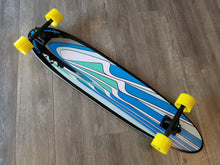 "Black Angel 40"" Pintail showing blue graphic with yellow Bustin Premier Formula Wheels"