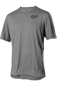 Fox Racing Men's Ranger Powerdry Short Sleeve MTB Mountain Bike Jersey Pewter Grey Front