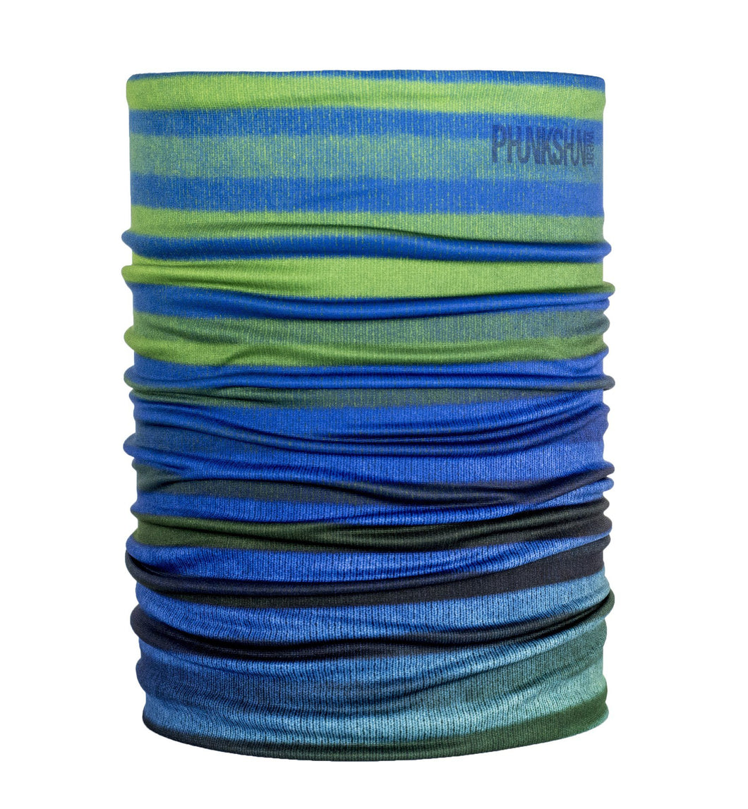 Function Double Tube Stripes Dual Layer Face Mask Multipurpose neck gaiter Green Blue