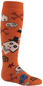 Wigwam Kid Snow Skully Medium Weight Ski and Snowboard Winter Sock Orange Skulls