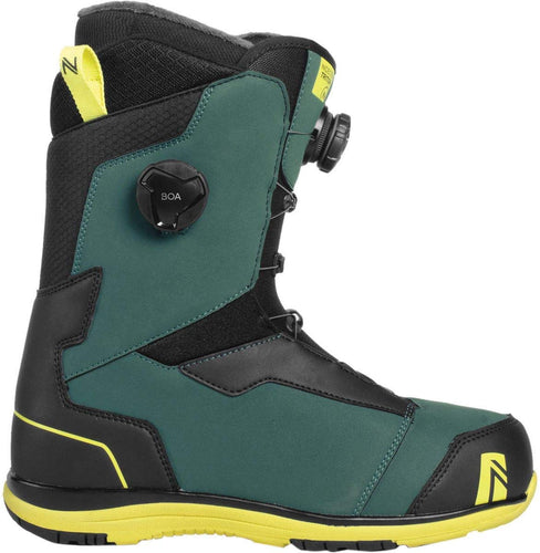 Nideker triton double boa mens snow board boots teal green yellow black
