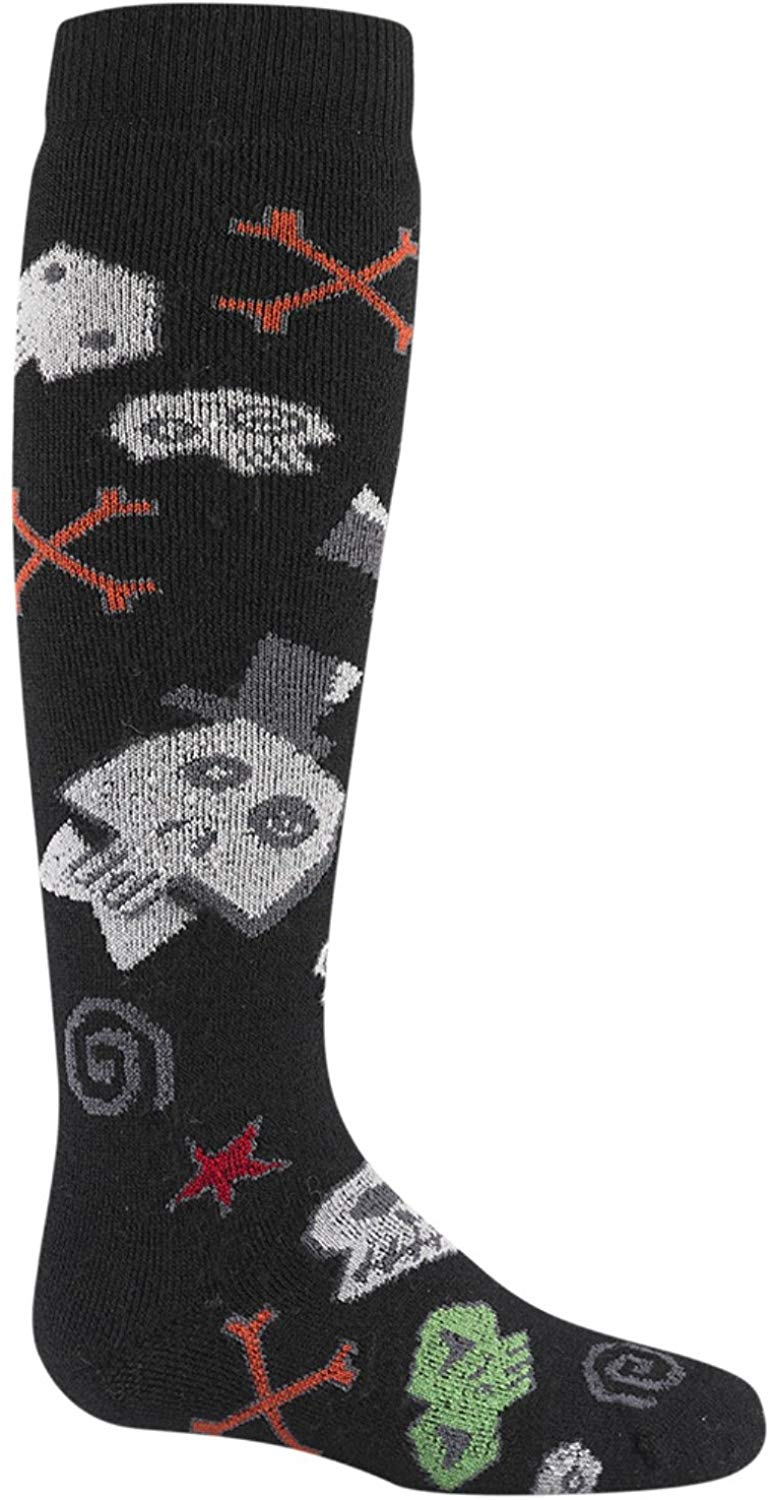 Wigwam Child Snow Skully Medium Weight Ski and Snowboard Winter Sock Black Skulls