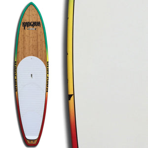 "Kanghua 10'8"" Bamboo Premium All Around SUP Paddleboard with Fins & Leash, Rasta"