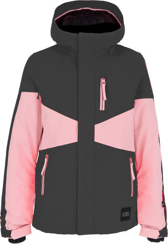 O'Neill Girl's Coral Ski and Snowboard Jacket Pink and Grey Front