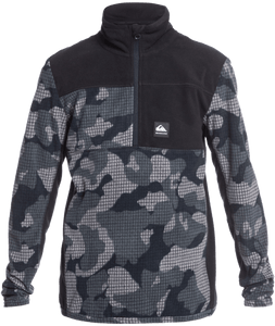Quicksilver Boy's Aker Technical Half-Zip Fleece True Black Front View