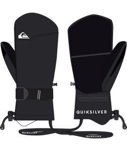 Quicksilver Boy's Mission Ski and Snowboard Mitten Black Front and Back View