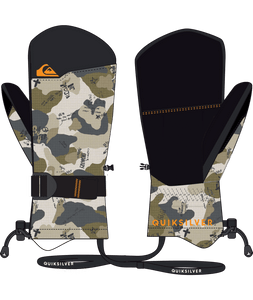 Quicksilver Boy's Mission Ski and Snowboard Mitten Camo Front View