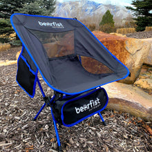portable camping chair adults kids 300 lbs  blue black