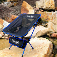 BearFist Outdoor 2 pound backpacking camp chair blue rocks unlevel surface