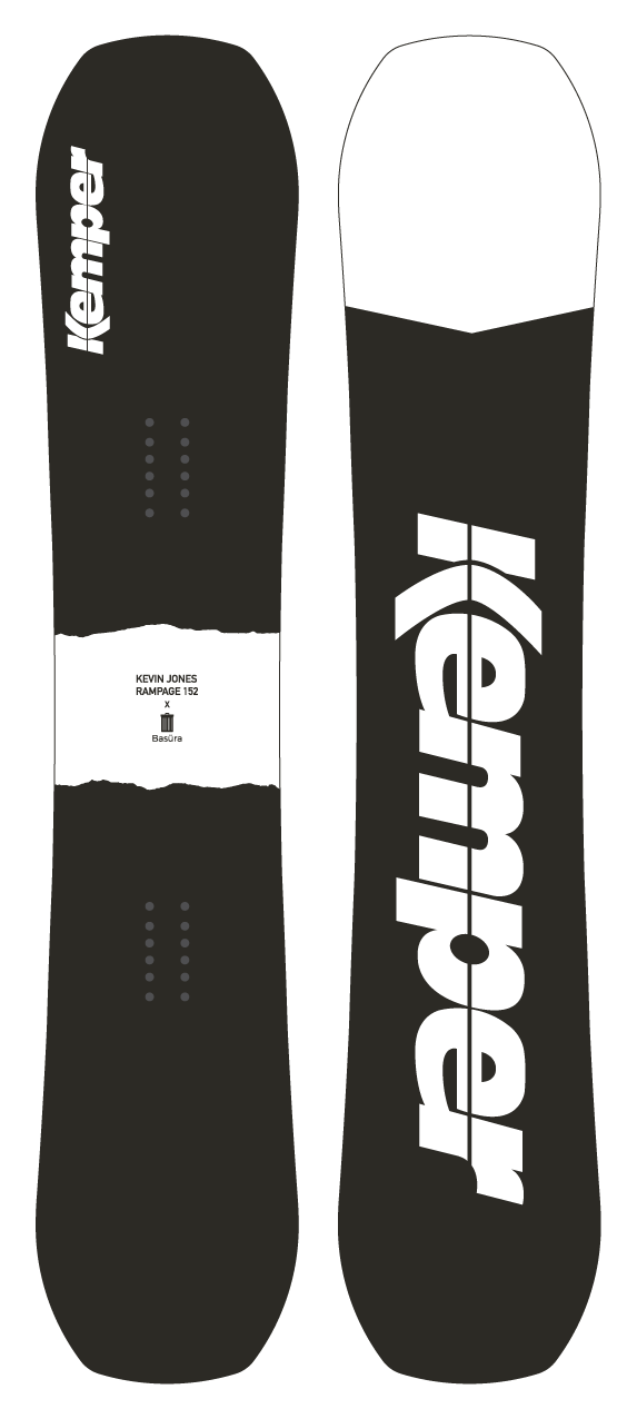 Kemper Snowboards Kevin Jones Rampage 2020/2021 Park Freestyle Snowboard Black/White Top and Bottom Sheet