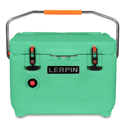 Lerpin Outdoor 25Q rotomolded ice chest cooler pressure release sea foam green handle