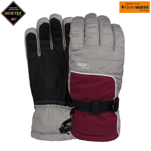 POW glove company womans falcon gtx goretex ski snowboard glove ash red grey