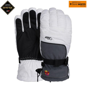 POW glove company womens falcon gtx goretex ski snowboard glove white black grey