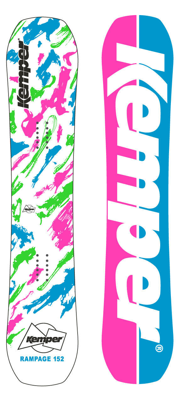 Kemper Snowboards Rampage 1989/1990 White Park Freestyle Snowboard White/Pink Green/Blue Top and Bottom Sheets