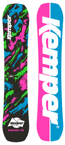 Kemper Snowboards Rampage 1989/1990 Black Freestyle Park Snowboard Black/Green/Pink/Blue Top and Bottom Sheets