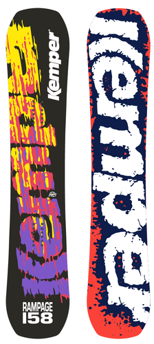 Kemper Snowboards Rampage 1990/1991 Park Freestyle Snowboard Black/Yellow/Purple/Orange/White Top and Bottom Sheets