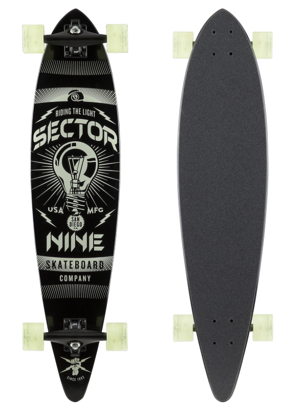 Beacon Glow-in-the-Dark Pintail Longboard Complete