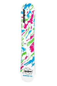 Kemper Snowboards Rampage 1989/1990 White Park Freestyle Snowboard White/Pink Green/Blue Top Sheet