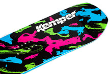 Kemper Snowboards Rampage 1989/1990 Black Freestyle Park Snowboard Black/Green/Pink/Blue Blunt Tip Nose Detail Close Up