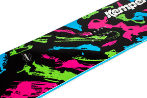 Kemper Snowboards Rampage 1989/1990 Black Freestyle Park Snowboard Black/Green/Pink/Blue Mid Detail Close Up