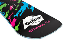 Kemper Snowboards Rampage 1989/1990 Black Freestyle Park Snowboard Black/Green/Pink/Blue Blunt Tail Detail Close Up