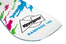 Kemper Snowboards Rampage 1989/1990 White Park Freestyle Snowboard White/Pink Green/Blue Blunt Tail Detail Close Up