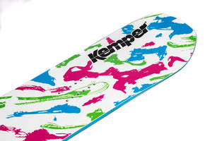Kemper Snowboards Rampage 1989/1990 White Park Freestyle Snowboard White/Pink Green/Blue Blunt Tip Nose Detail Close Up