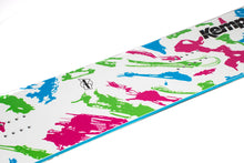 Kemper Snowboards Rampage 1989/1990 White Park Freestyle Snowboard White/Pink Green/Blue Mid Detail Close Up