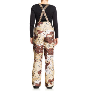 DC Shoes Women's Collective Bib Shell Ski Snowboard Pant Chocolate Chip Camo Back