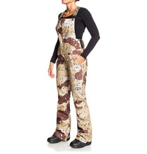 DC Shoes Women's Collective Bib Shell Ski Snowboard Pant Chocolate Chip Camo Front Angle 1