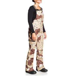 DC Shoes Women's Collective Bib Shell Ski Snowboard Pant Chocolate Chip Camo Front Angle 2