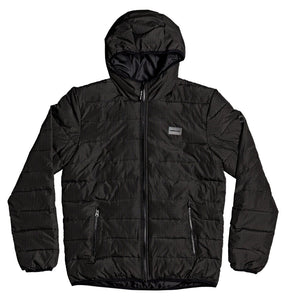 DC Shoes Turner Puffer Hooded Insulater Jacket Black Front View