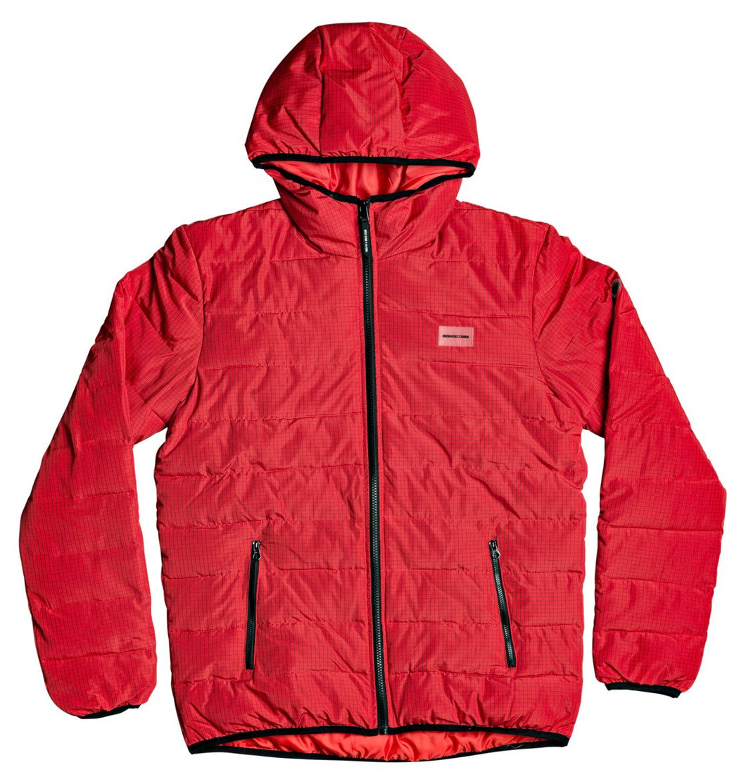 DC Shoes Turner Puffer Hooded Insulater Jacket Racing Red Front View