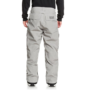 DC Shoes Men's Code Shell Snowboard Pants Grey Full Back View