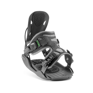 Flow Alpha Rear Speed Entry Fusion One Piece Strap Snowboard Bindings Stone Grey Front Angle View