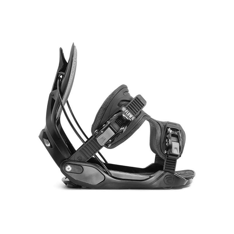 Flow Alpha Rear Speed Entry Fusion One Piece Strap Snowboard Bindings Black Side View