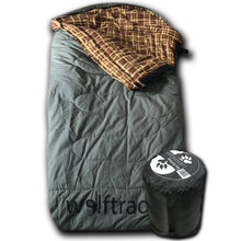 LoneWolf -30 Degree Oversized Premium Comfort Canvas Sleeping Bag Green/Brown