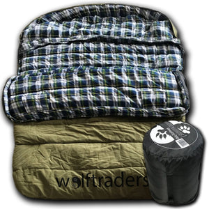 TwoWolves -30 Degree 2-Person Premium Canvas Sleeping Bag Green/Blue