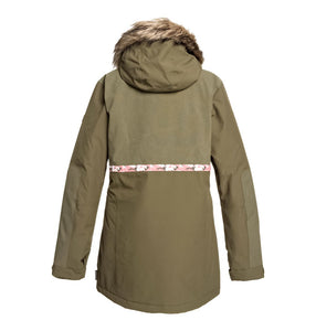 DC Shoes Womans Panoramic 15K Waterproof Ski Snowboard Jacket Green Olive Night Back